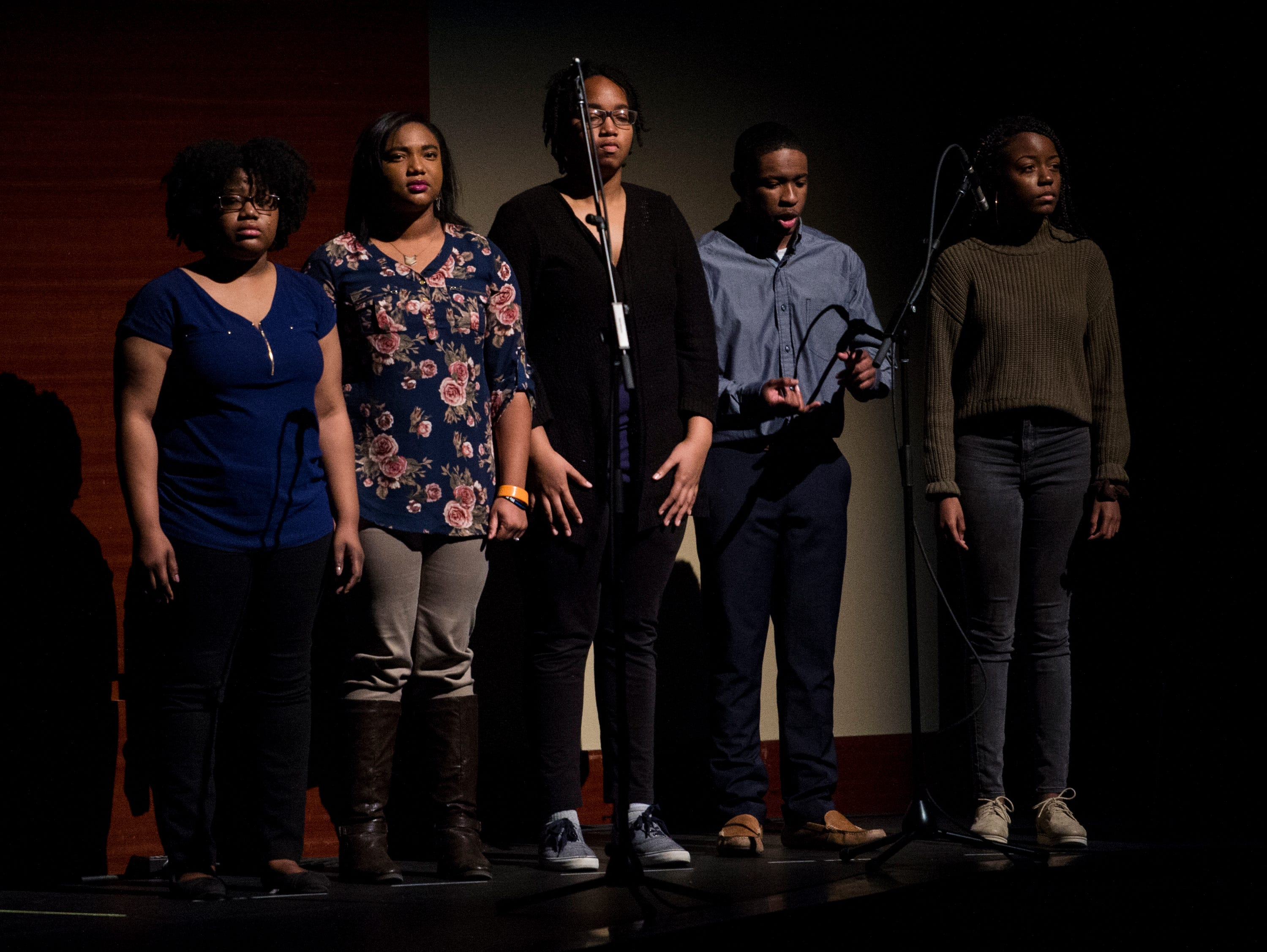 Creative writing students perform during the BTW Showcase: Rise at the Montgomery Performing Arts Center in Montgomery, Ala., on Friday, Jan. 11, 2019.