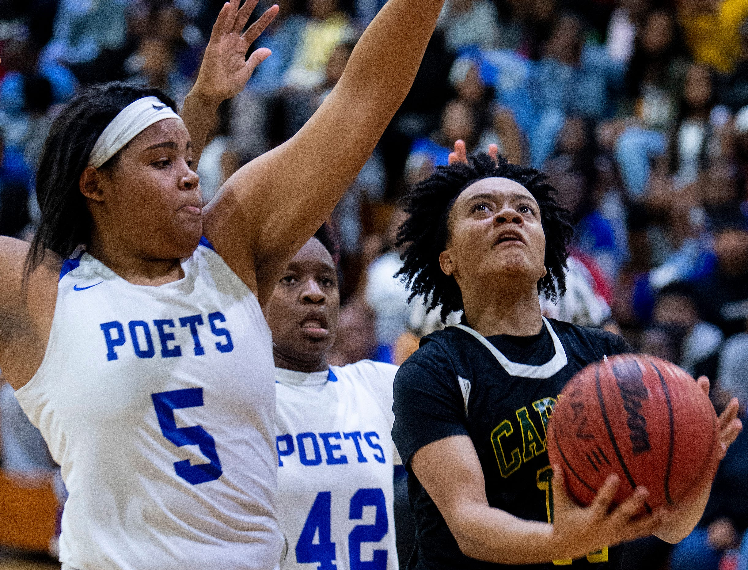 Carver's Aaliyah Ellis (11) against Lanier's Sakoya Knight (5) at the Lanier campus in Montgomery, Ala., on Friday January 11, 2019.