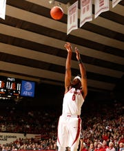 Alabama senior center Donta Hall puts up a shot in 81-80 loss to Texas A&M on Jan. 12, 2019 from Coleman Coliseum in Tuscaloosa, Ala. (Photo courtesy of Robert Sutton/Alabama athletics)