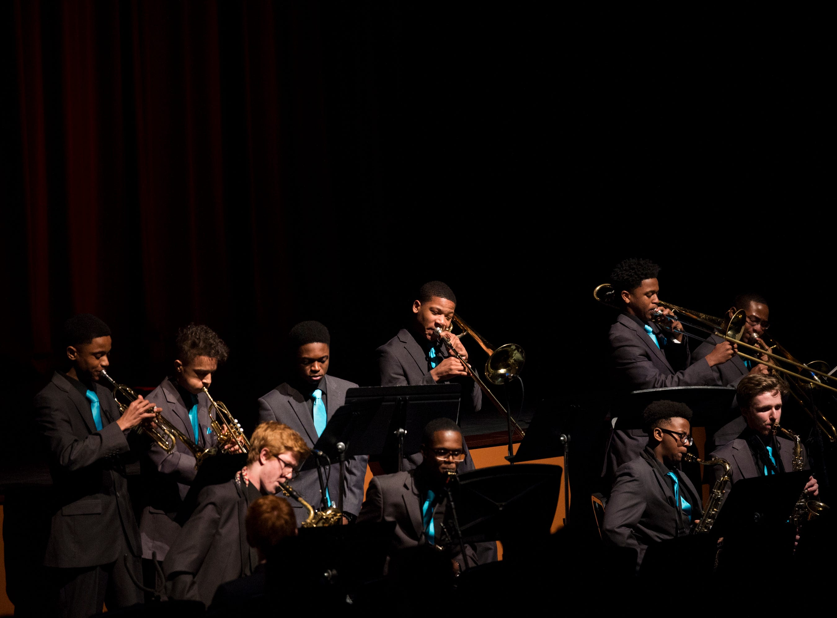 Show band students perform during the BTW Showcase: Rise at the Montgomery Performing Arts Center in Montgomery, Ala., on Friday, Jan. 11, 2019.