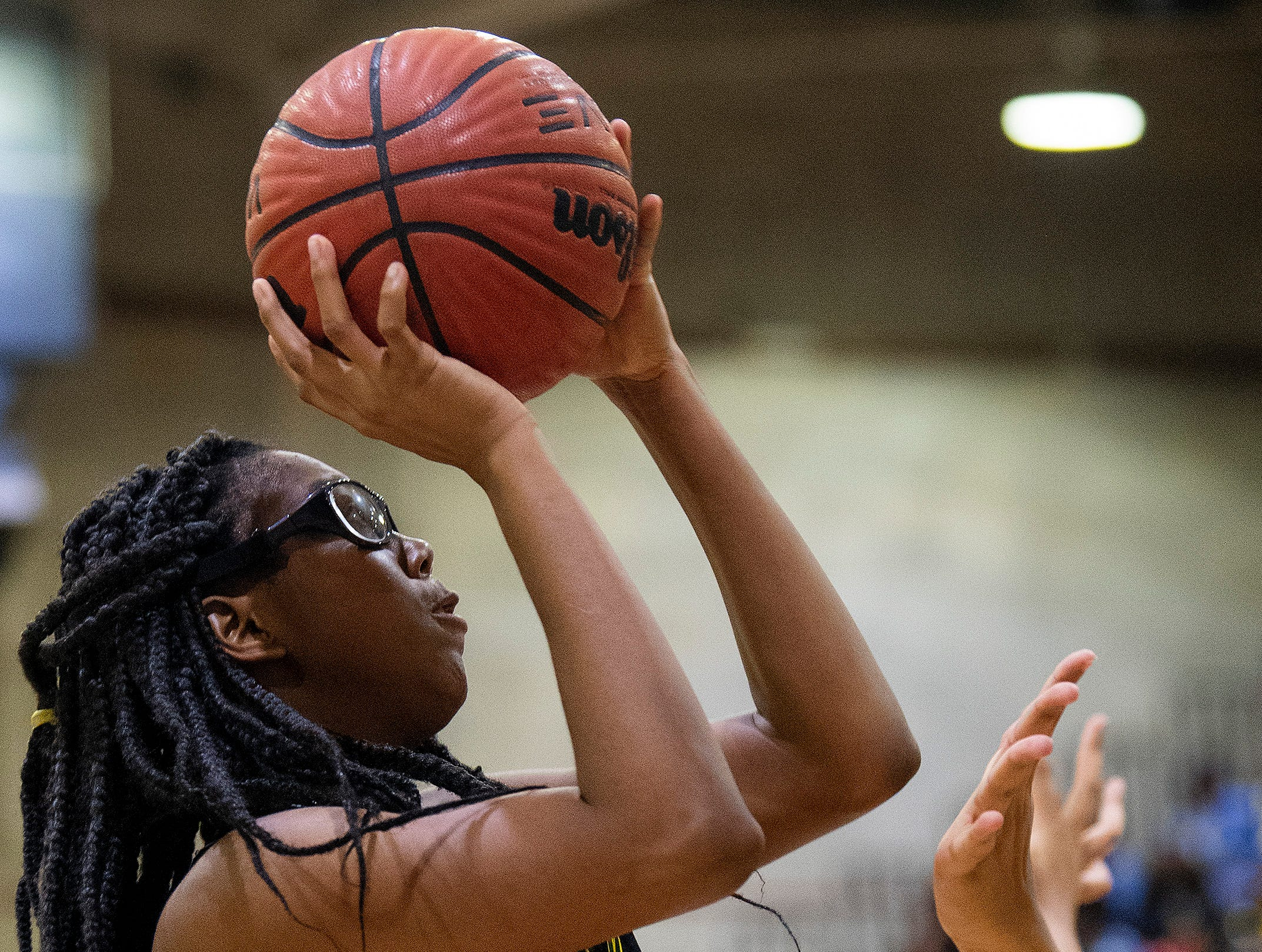 Carver's Mya Barnes (12) against Lanier at the Lanier campus in Montgomery, Ala., on Friday January 11, 2019.