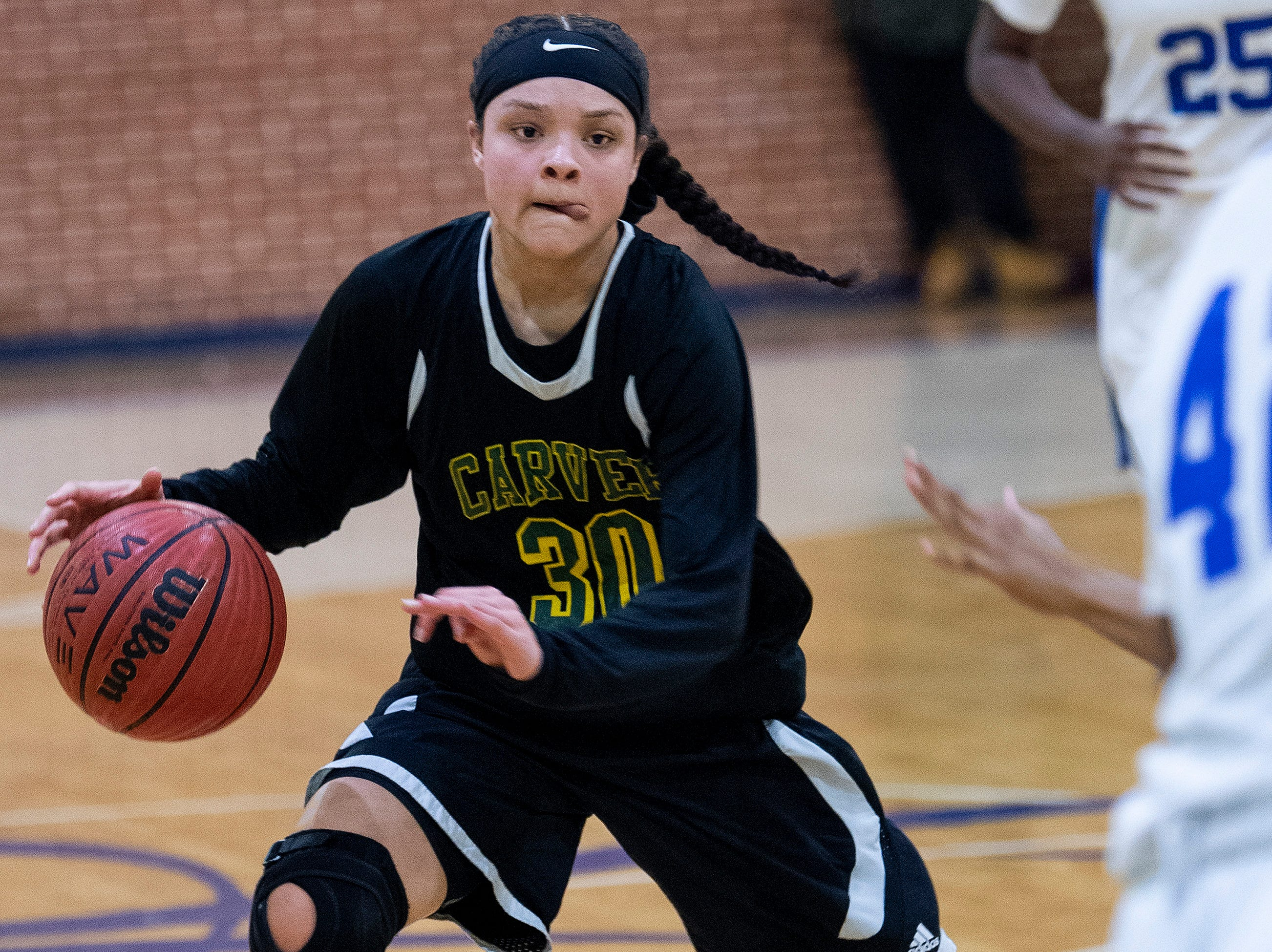 Carver's Kristin Brown (30) against Lanier at the Lanier campus in Montgomery, Ala., on Friday January 11, 2019.