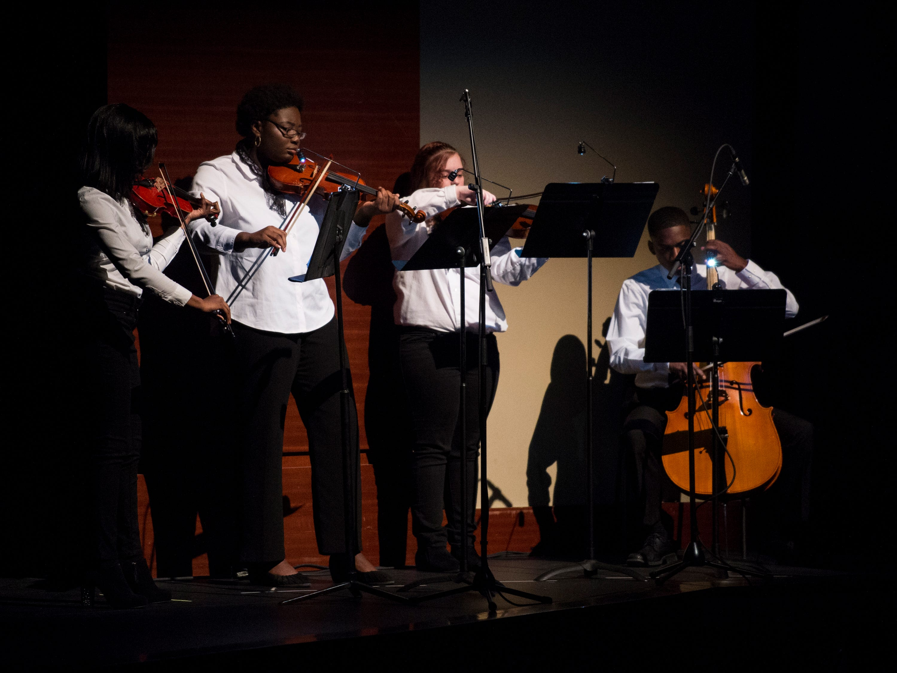 String students perform during the BTW Showcase: Rise at the Montgomery Performing Arts Center in Montgomery, Ala., on Friday, Jan. 11, 2019.