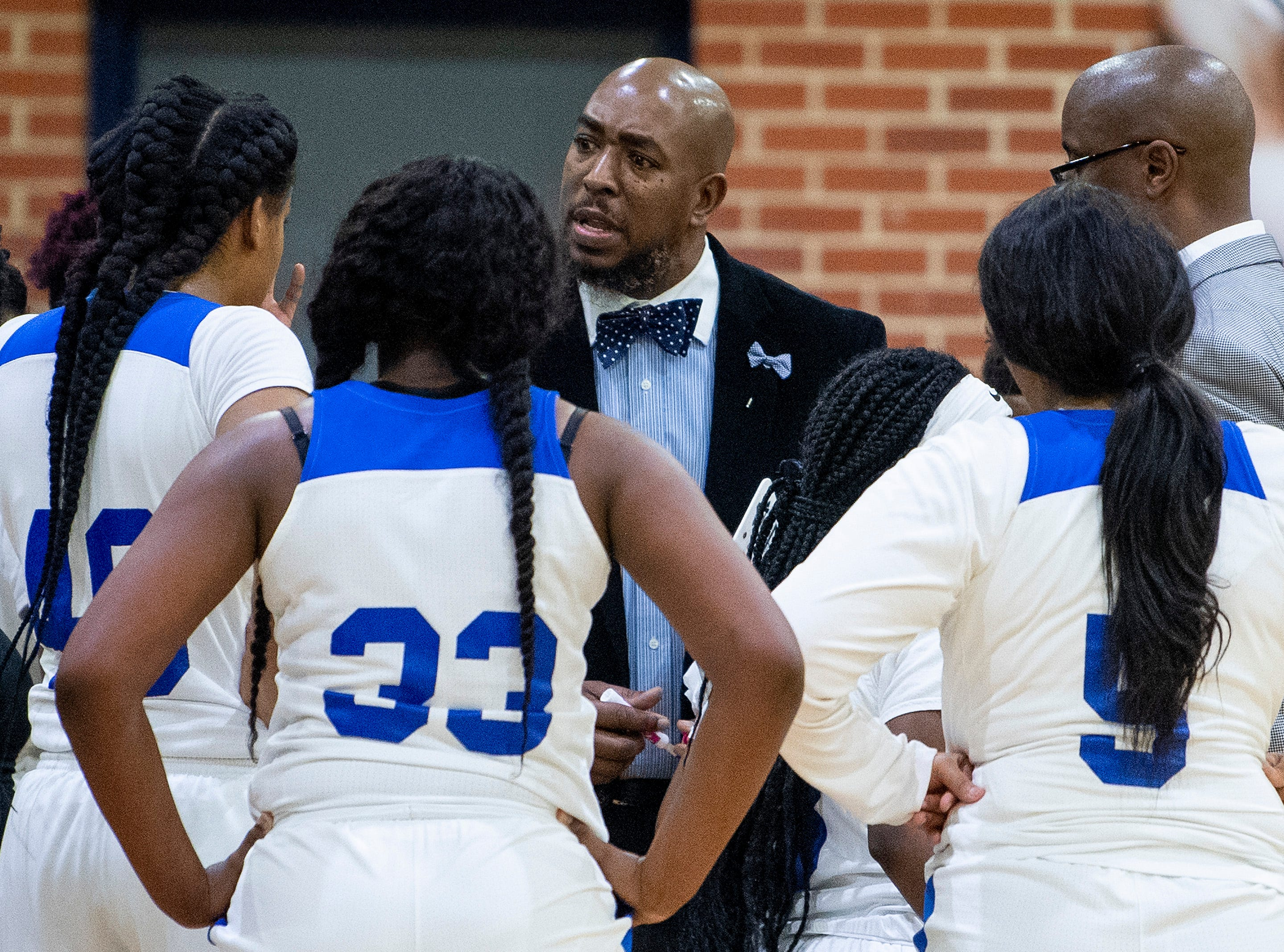 Lanier coach Dandrea Evans against Carver at the Lanier campus in Montgomery, Ala., on Friday January 11, 2019.