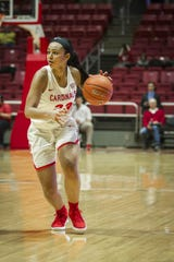 Ball State's Gabby Smith dribbles against Ohio on Saturday, January 12, 2019 at Worthen Arena.
