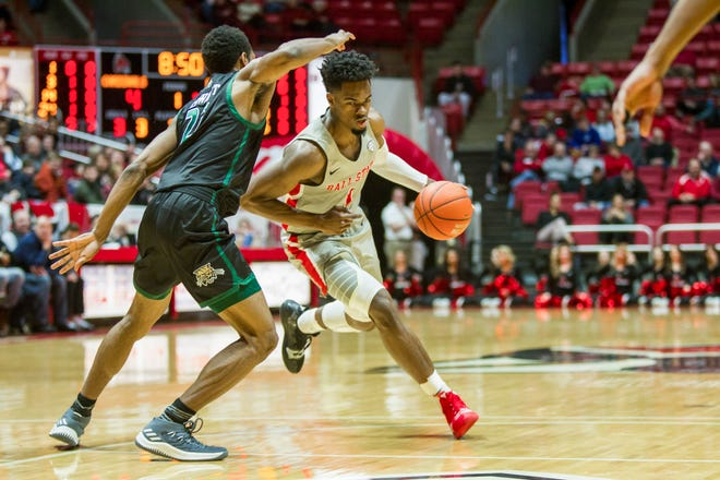 Ball State's K.J. Walton drives to the basket against Ohio on Saturday, January 12, 2019 at Worthen Arena.