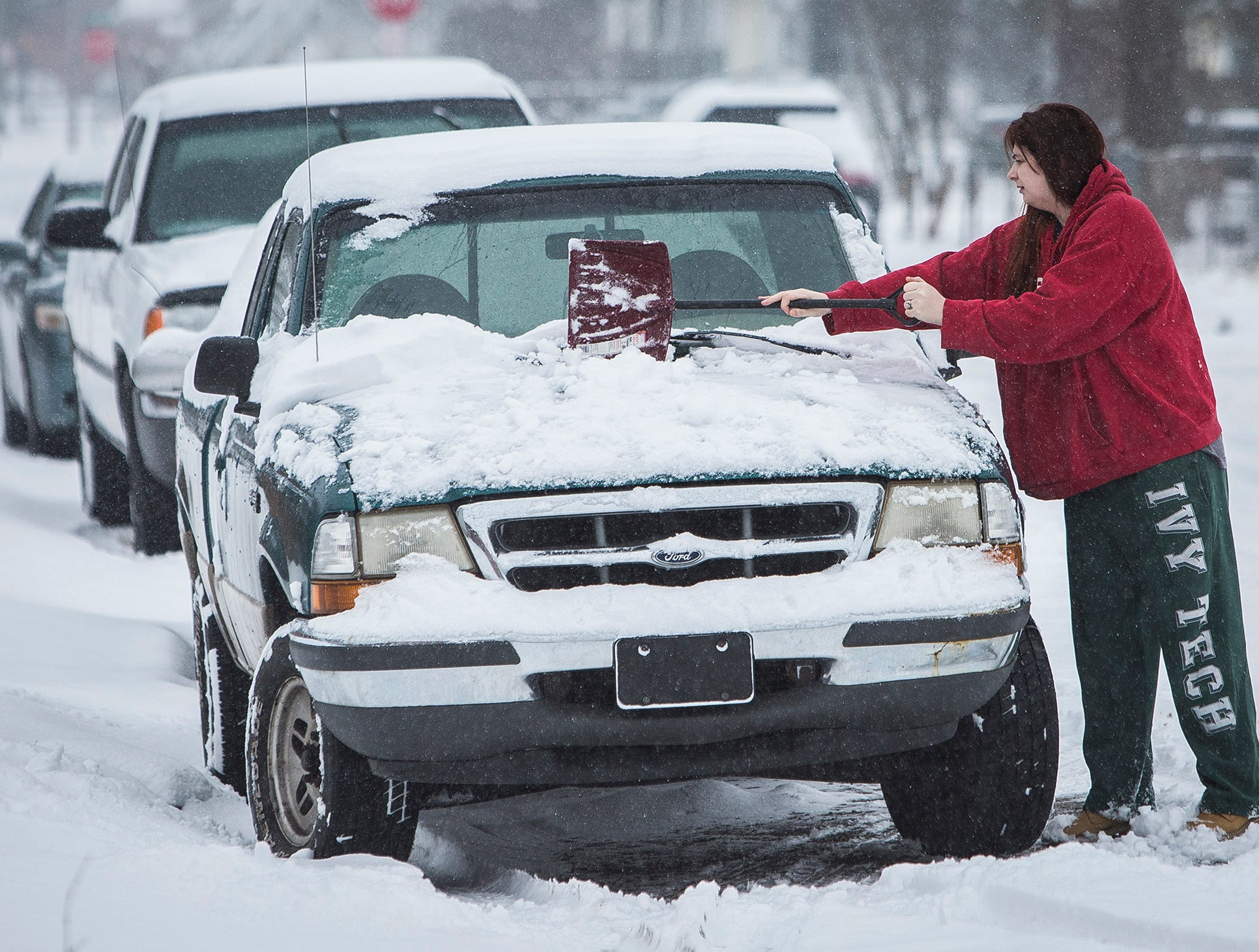 Heavy snow created slick roads and low visibility in Delaware County throughout the day Saturday. Weather services are predicting four to seven inches of snowfall. A winter storm warning remains in effect until 7 a.m. Sunday.