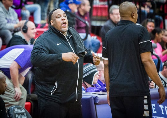 FILE -- Central's Chandler Thomspon coaches against Richmond during their game at Southside Middle School Friday, Jan. 11, 2019. Thompson enters his third year at the Bearcats' head coach during the 2019-20 season.