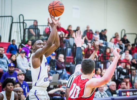Central's Damarius Pegues, shown here shooting a jumper against Richmond, scored 22 points as the Bearcats beat Kokomo and improved to 4-1 in NCC play.