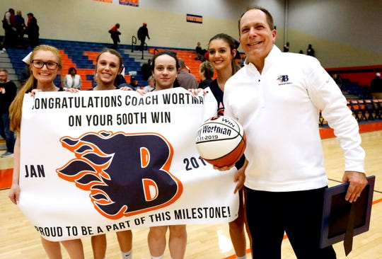 Blackman's head coach Barry Wortman was honored by the school on Friday Jan. 11, 2019, after winning his 500th game.