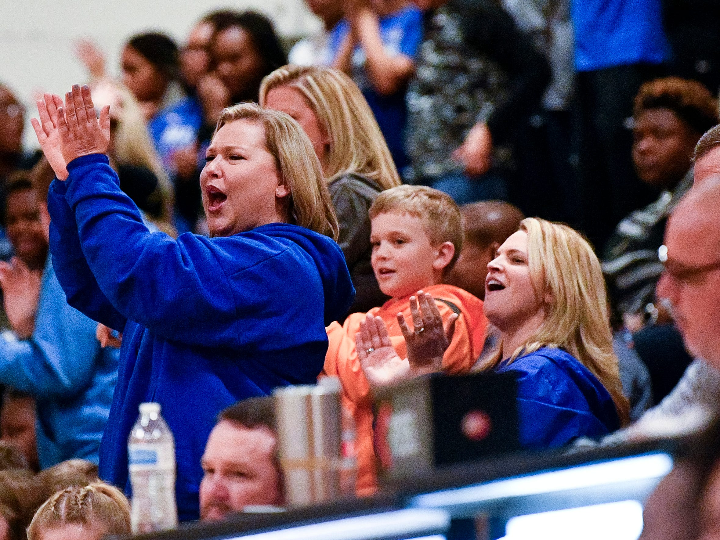 Marshall County fans cheer against Central Magnet during the second half at Central Magnet School in Murfreesboro, Tenn., Friday, Jan. 11, 2019.