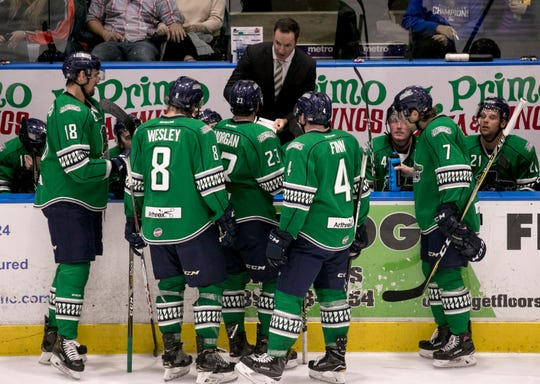 Florida Everblades coach Brad Ralph talks to his team during their game against Greenville on Friday at Hertz Arena in Estero. The third-year coach has been named an All-Star and has led the Blades to the league's best record.