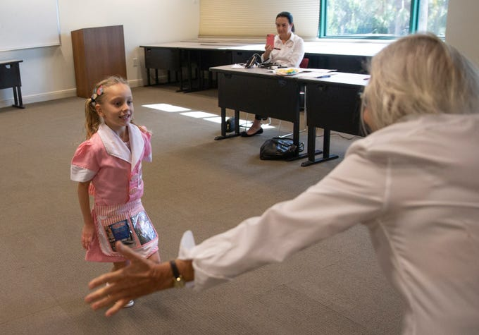 """Gianna Winton, 6, of Fort Myers auditions for the role of Lulu in the upcoming production of """"Waitress"""" on Saturday, Jan. 12, 2019, at the Artis—Naples Toni Stabile Education Building."""