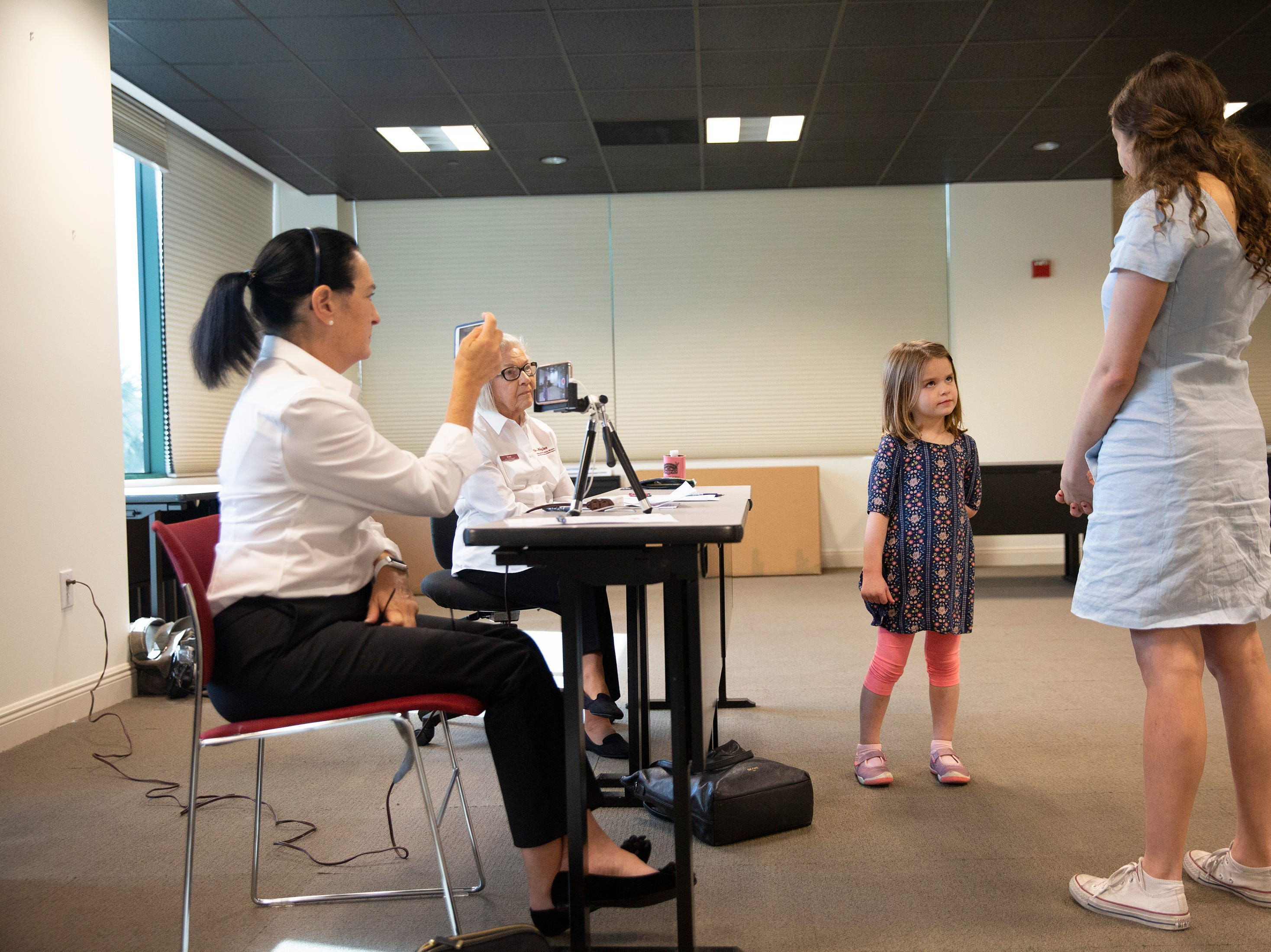 "Eloise Filner, 4, of Naples, tries out for the role of Lulu in the upcoming production of ""Waitress"" during a casting call Saturday, Jan. 12, 2019, at the Artis—Naples Toni Stabile Education Building."