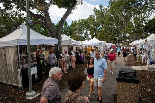 Naples Artcrafters' monthly art show, Saturday, Jan. 12, 2019, in Cambier Park in Naples.