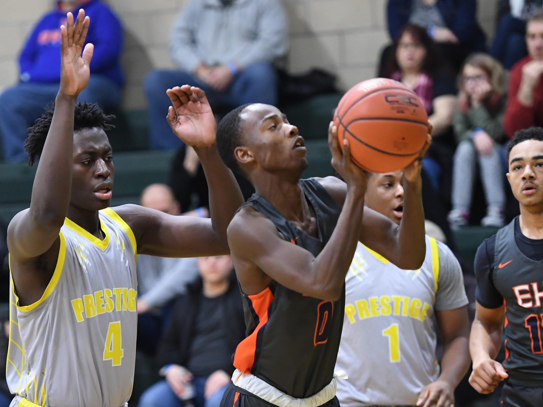 Public vs. Private Basketball Showcase at St. Joseph High School in Montvale on Saturday, January 12, 2019. Eastside vs. Prestige Prep Academy. E #0 Lamir White drives to the basket.