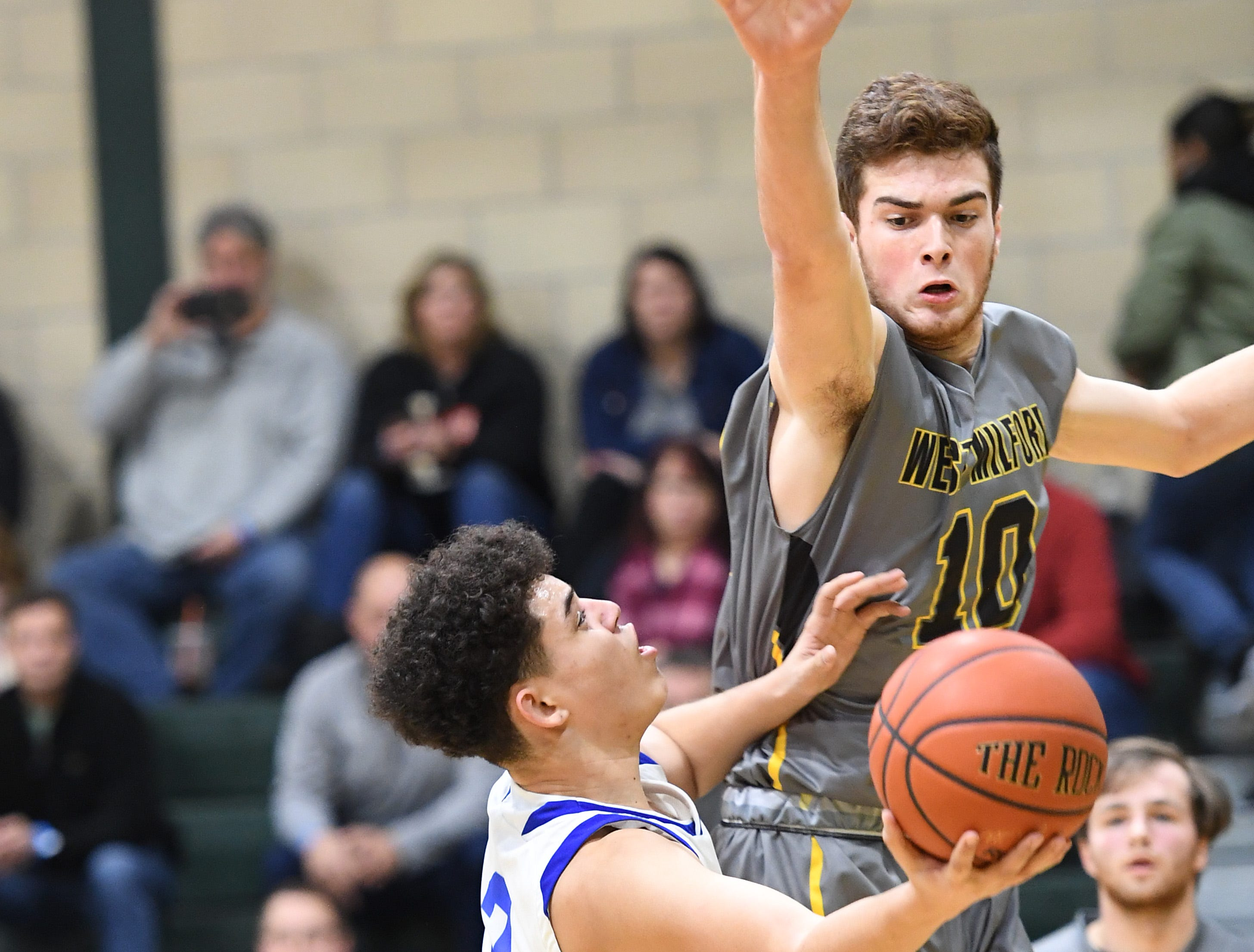 Public vs. Private Basketball Showcase at St. Joseph High School in Montvale on Saturday, January 12, 2019. West Milford vs. St. Mary. SM #3 Rob Carroza drives to the basket as WM #10 Brandon Licursi defends.