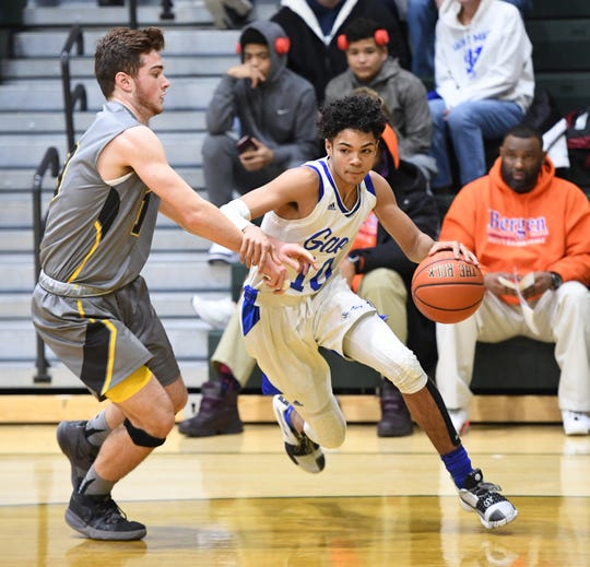 St. Mary senior guard Nick Boyd, shown here dribbling against West Milford, surpassed 1,000 career points in a win over Wood-Ridge on Wednesday, Feb. 13, 2019.