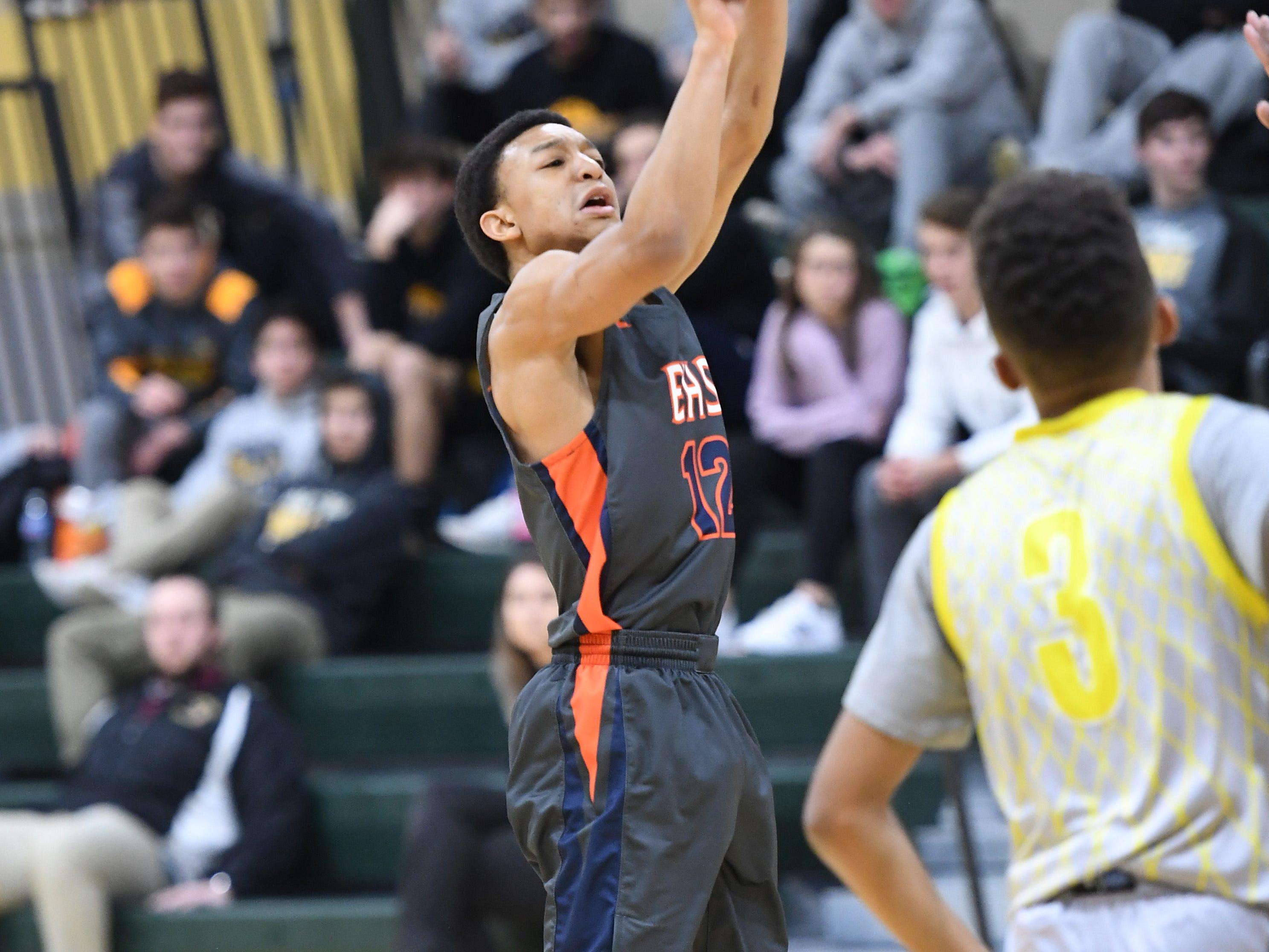 Public vs. Private Basketball Showcase at St. Joseph High School in Montvale on Saturday, January 12, 2019. E #12 Daizon Pauldo takes a shot.