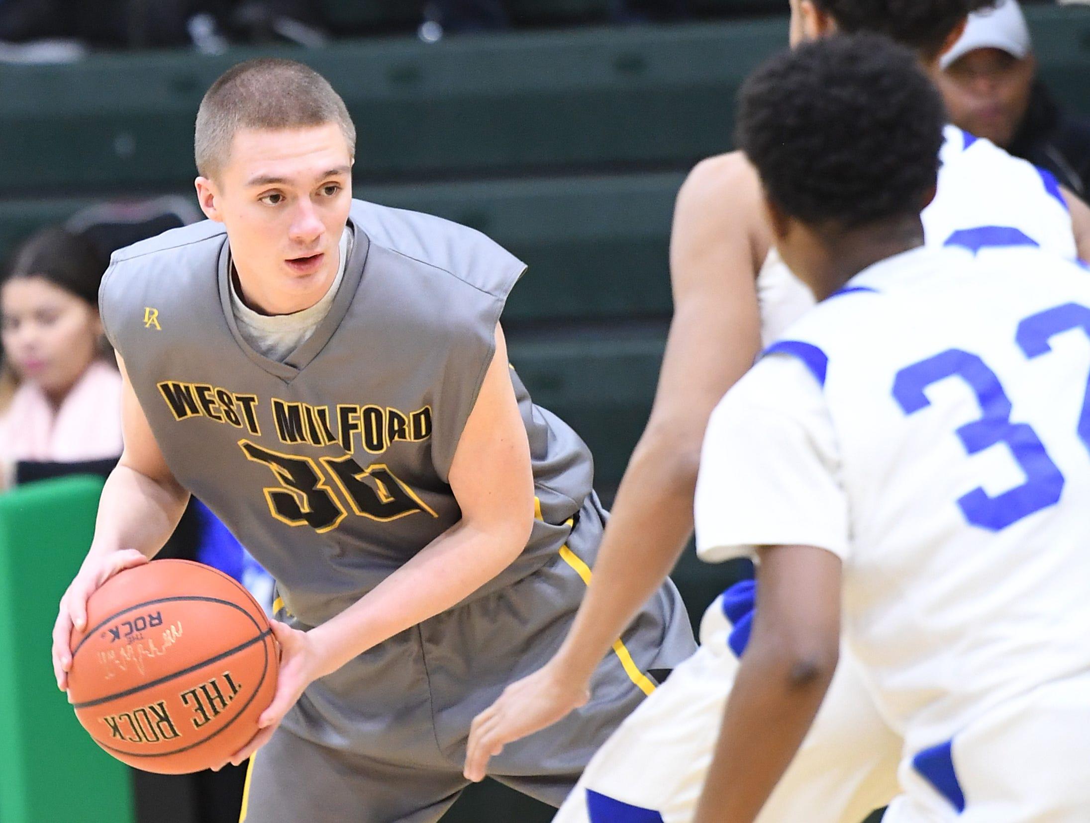 Public vs. Private Basketball Showcase at St. Joseph High School in Montvale on Saturday, January 12, 2019. West Milford vs. St. Mary. WM #30 Josiah Basket.