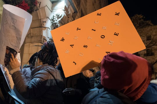 People rally outside of Paterson City Hall in the wake of the death of Jameek Lowery on Wednesday, January 9, 2019. Jameek Lowry, a 27-year-old Paterson man, died Monday morning, days after he recorded a frantic video at the city's police headquarters during which he said people — including police officers — were trying to kill him.