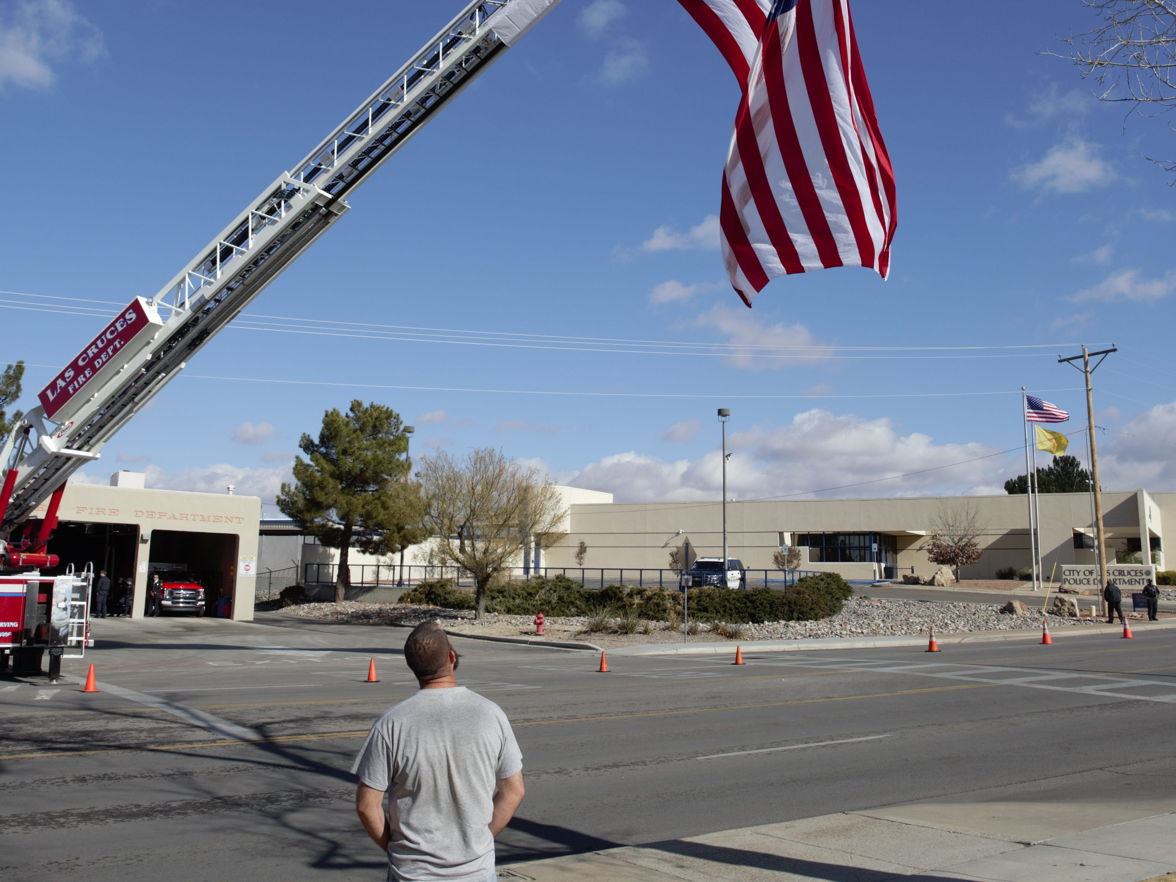 """Las Crucen Ryan Dailey was among residents who turned out Friday, Jan. 11, 2019 to pay their respects to former Las Cruces Police Department Chief Jaime Montoya, who died of cancer. Dailey said he appreciated Montoya's engagement with the community and compassion. """"I'm very saddened to see him go; I'll keep his family in my prayers and continue praying for him,"""" Dailey says."""