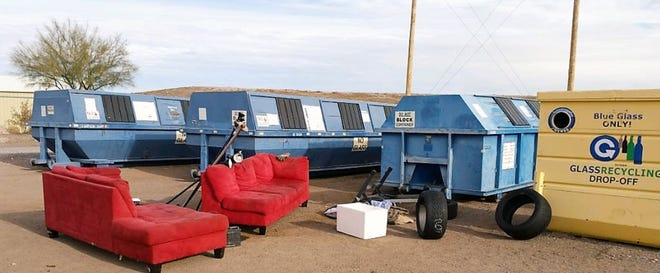 Couches, bagged trash, and other items are dumped illegally at the Recycling Yard at Old Foothills Landfill, interfering with servicing recycling roll-offs.
