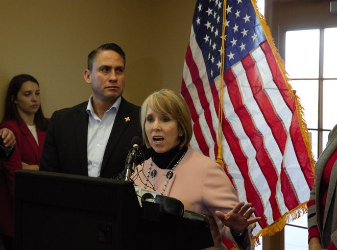 Recently inaugurated New Mexico Gov. Michelle Lujan Grisham, Democrat, toured federal border facilities in Sunland Park and Santa Teresa on Friday, Jan. 11, 2019, holding a news conference afterward at the New Mexico Border Authority. Lujan Grisham says she doesn't have enough data yet to determine whether to keep in place or end the deployment of about 120 members of the National Guard assigned to the state's southern border to assist federal border agents. Lt. Gov. Howie Morales, left, also participated in the tour.