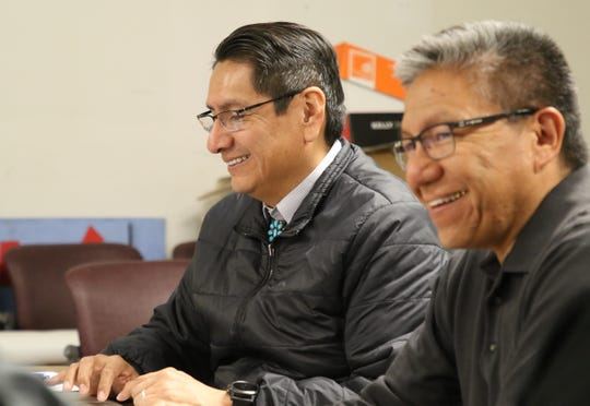 Navajo Nation President-elect Jonathan Nez, left, and Vice President-elect Myron Lizer say they expect to announce the hiring of several members of their administration soon.