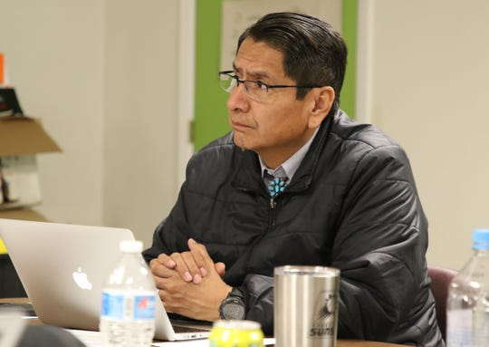 Navajo Nation President-elect Jonathan Nez listens during a cabinet candidate interview on Thursday in Window Rock, Ariz.