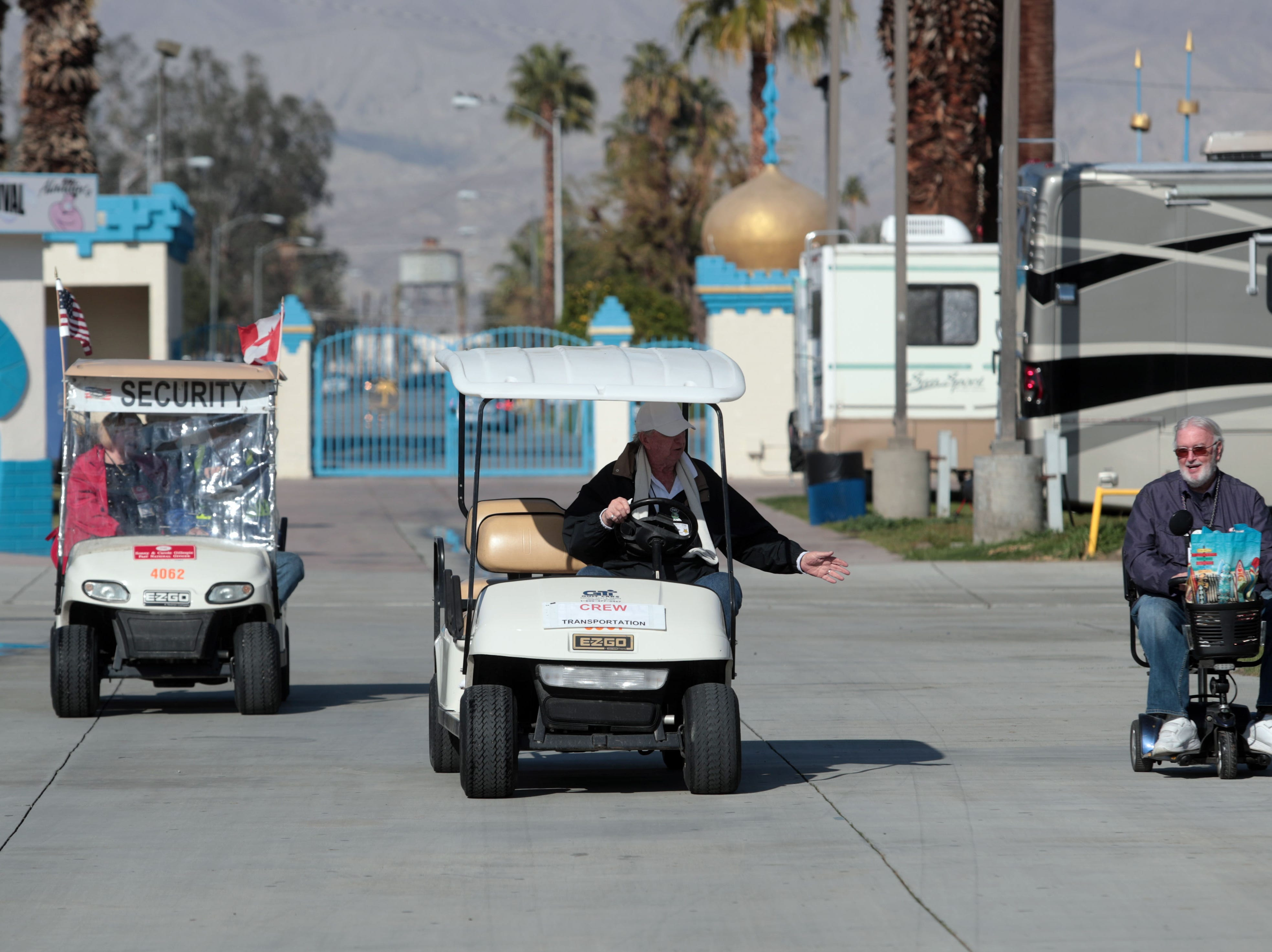 The traffic pattern at Riverside County Fairgrounds in Indio on Saturday, January 12, 2019, during the FMCA annual motorhome convention.