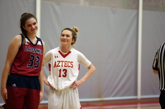 Desert Empire League MVP Alexis Legan shares a laugh with fellow first-teamer Emma Svoboda of La Quinta during a game earlier this year.