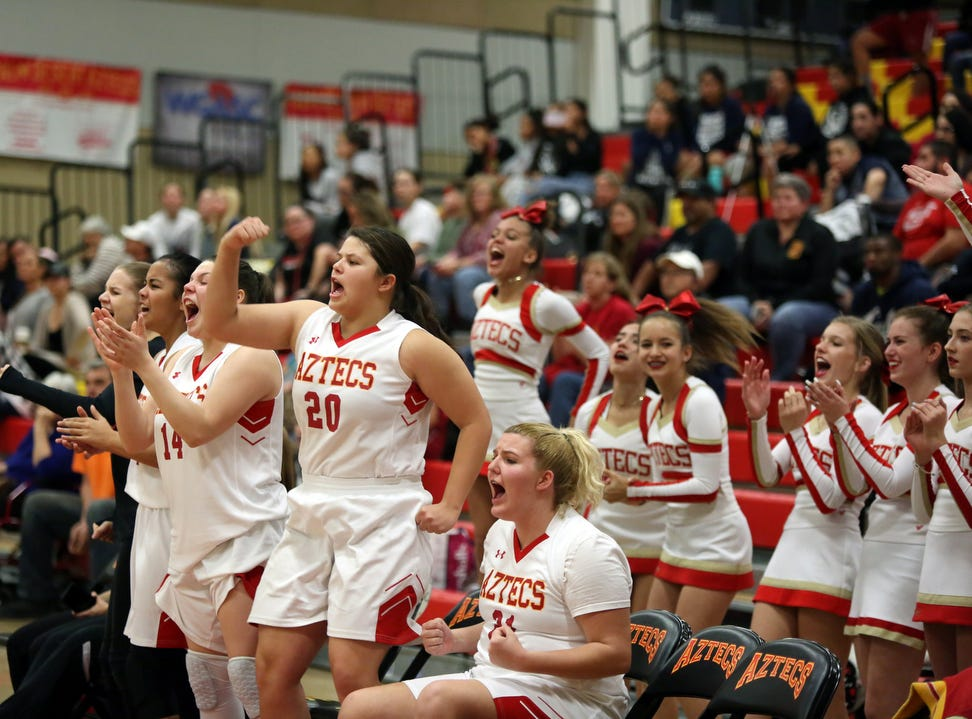 Palm Desert players celebrate a fourth quarter comeback against La Quinta in Palm Desert on Friday, January 11, 2019.