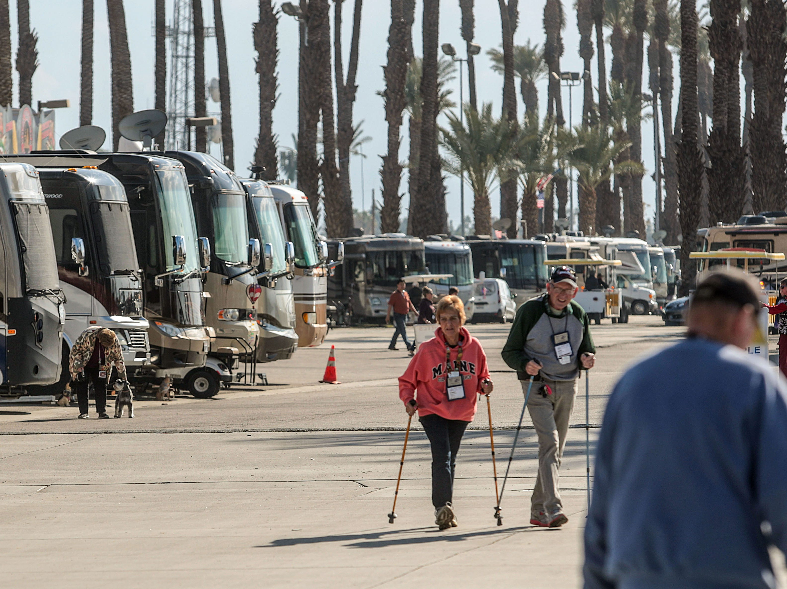 RVs pack the Riverside County Fairgrounds in Indio on Saturday, January 12, 2019, during the FMCA annual motorhome convention.
