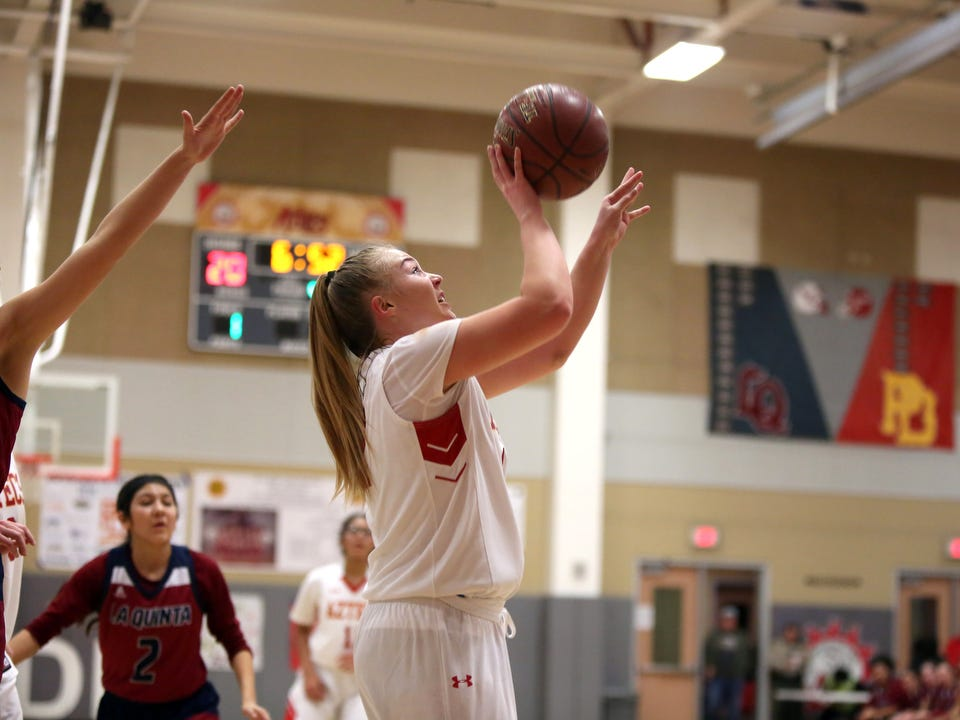 Palm Desert's Kristina Serven shoots the ball in the fourth quarter of the game against La Quinta in Palm Desert on Friday, January 11, 2019. Palm Desert won.