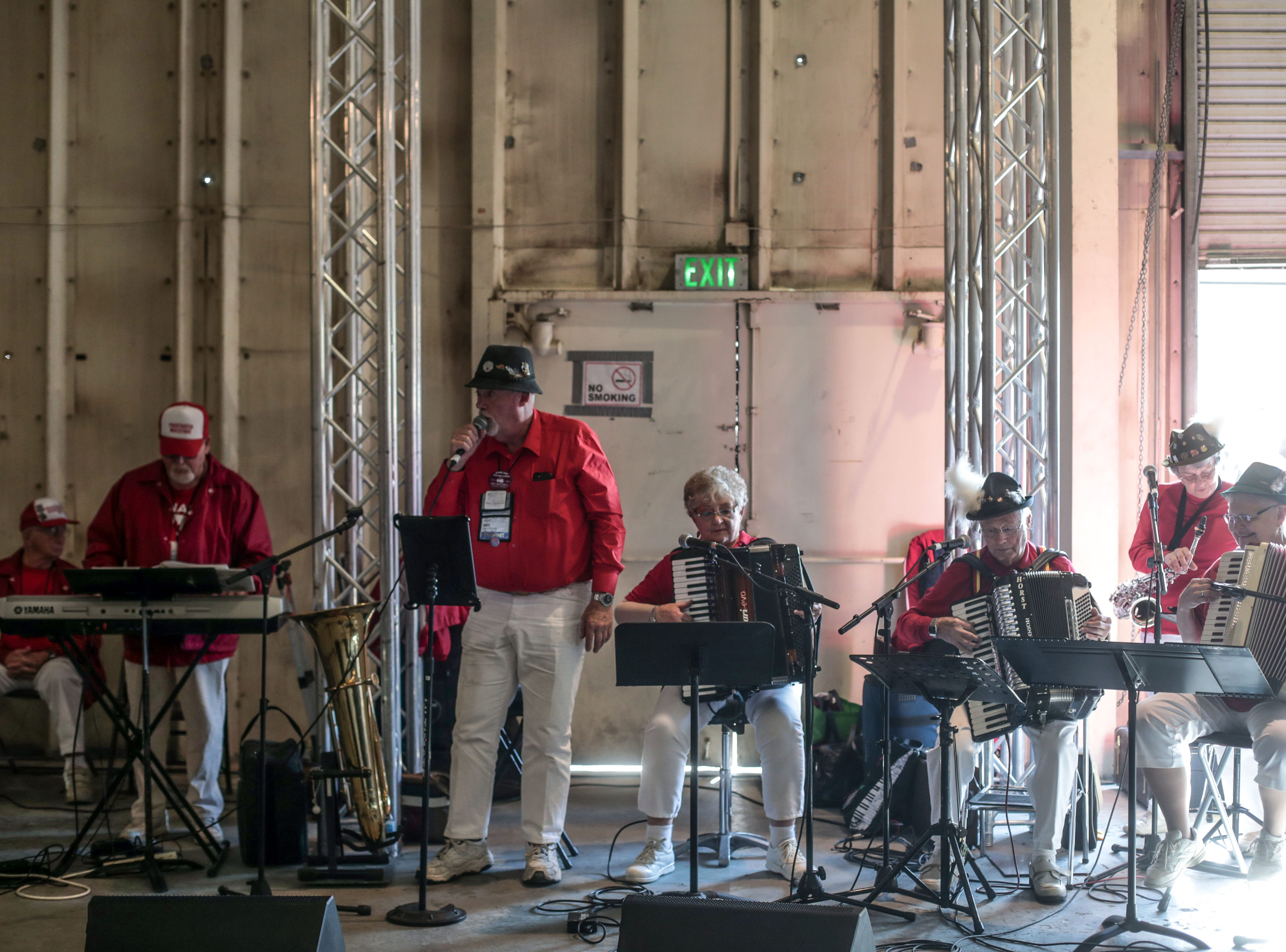 Live music entertain RV owners at the ice-cream social at the Riverside County Fairground in Indio on Saturday, January 12, 2019, during the FMCA annual motorhome convention.