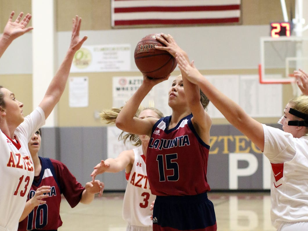 La Quinta's Gigi Ansley shoots the ball during the game in Palm Desert on Friday, January 11, 2019. Palm Desert won.