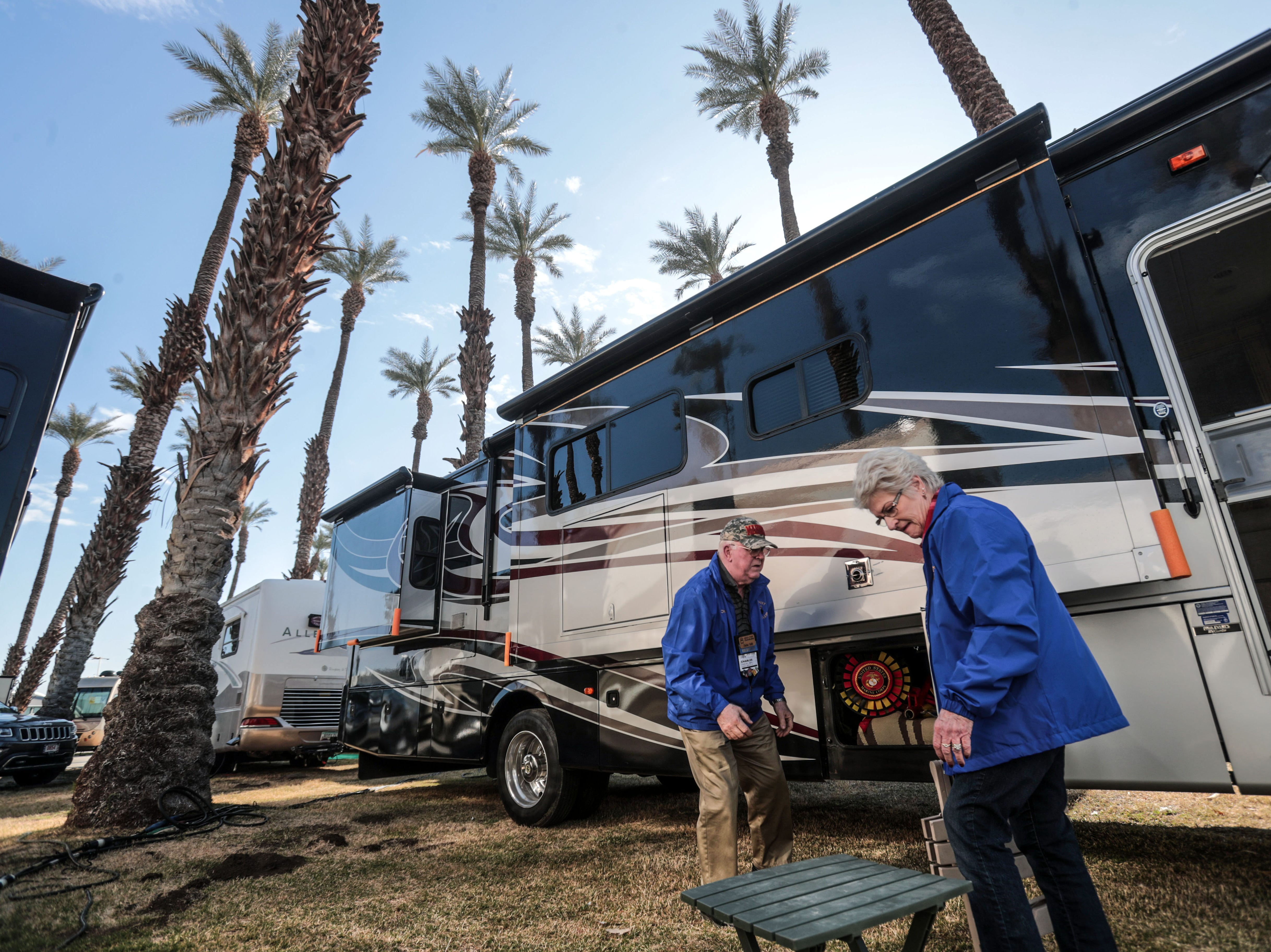 Chuck and Vickie Smith from Reedley, CA pack their lawn furniture into their RV at the Riverside County Fairgrounds in Indio on Saturday, January 12, 2019, during the FMCA annual motorhome convention.