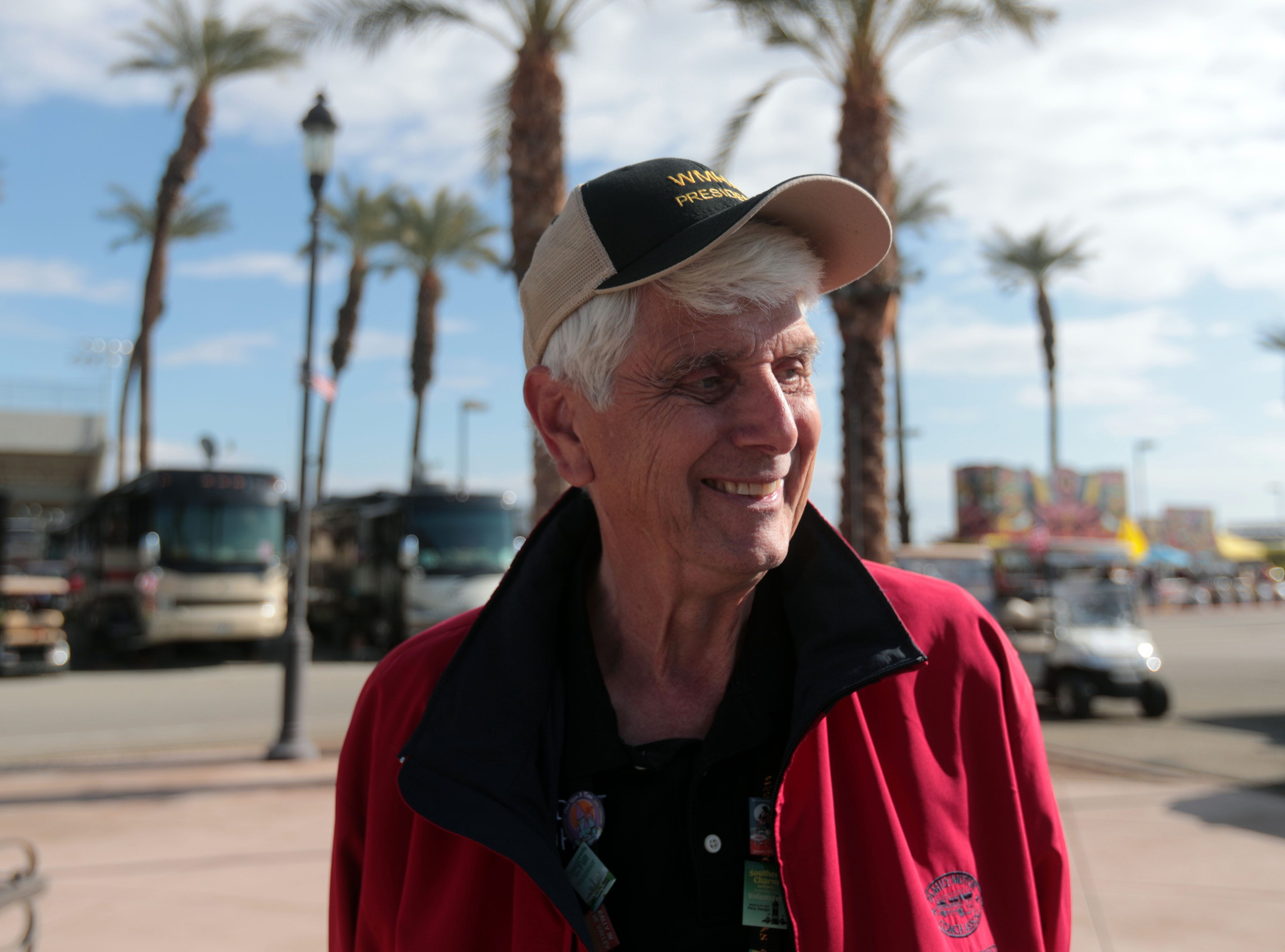 Lon Cross, the president of the Western Motor Home Association at Riverside County Fairgrounds in Indio on Saturday, January 12, 2019, during the FMCA annual motorhome convention.