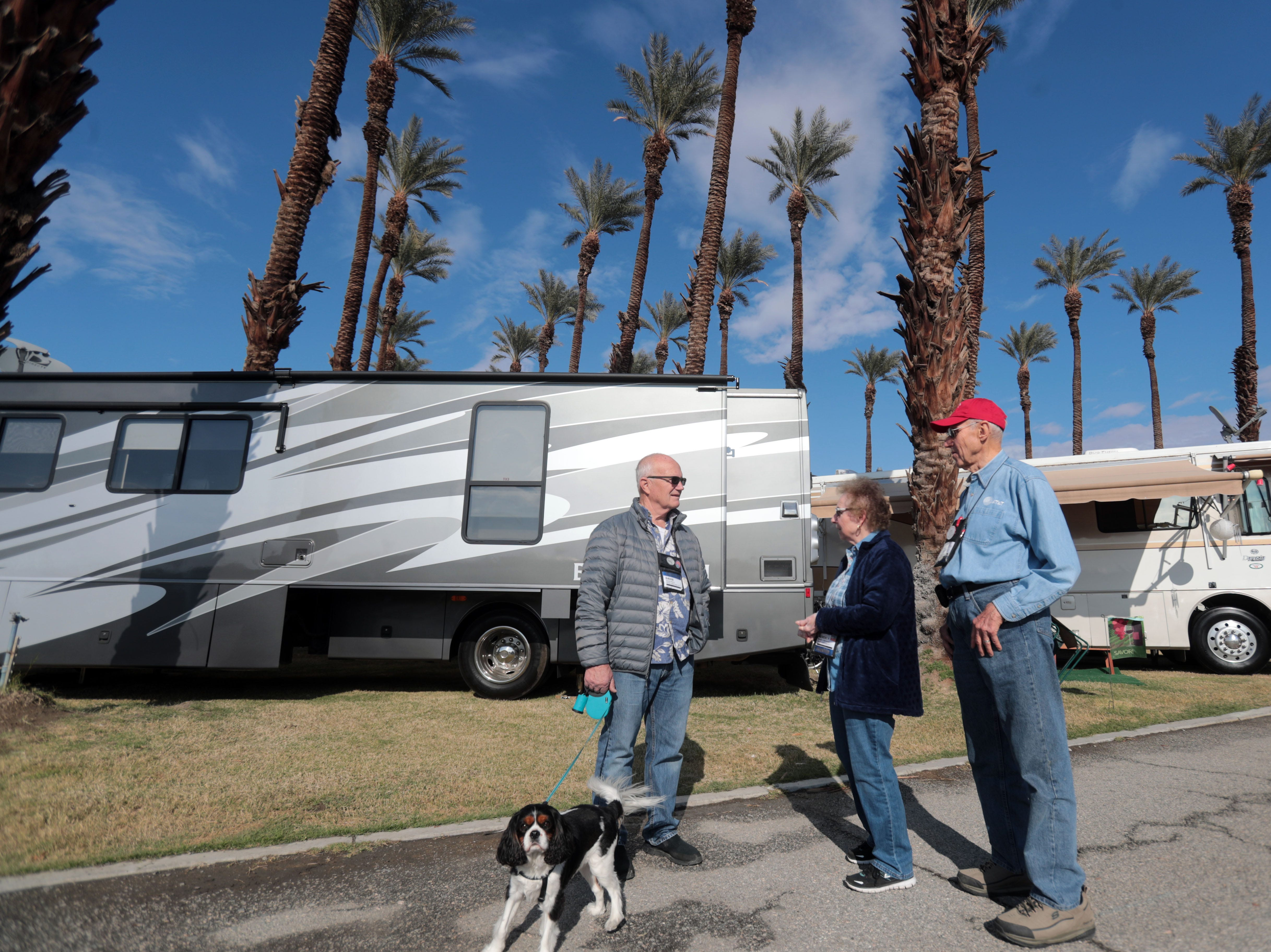 David Photo, left, of Santa Rosa, CA chats with Herb and Beverly Weinman, of Los Gatos, CA at Riverside County Fairgrounds in Indio on Saturday, January 12, 2019, during the FMCA annual motorhome convention.