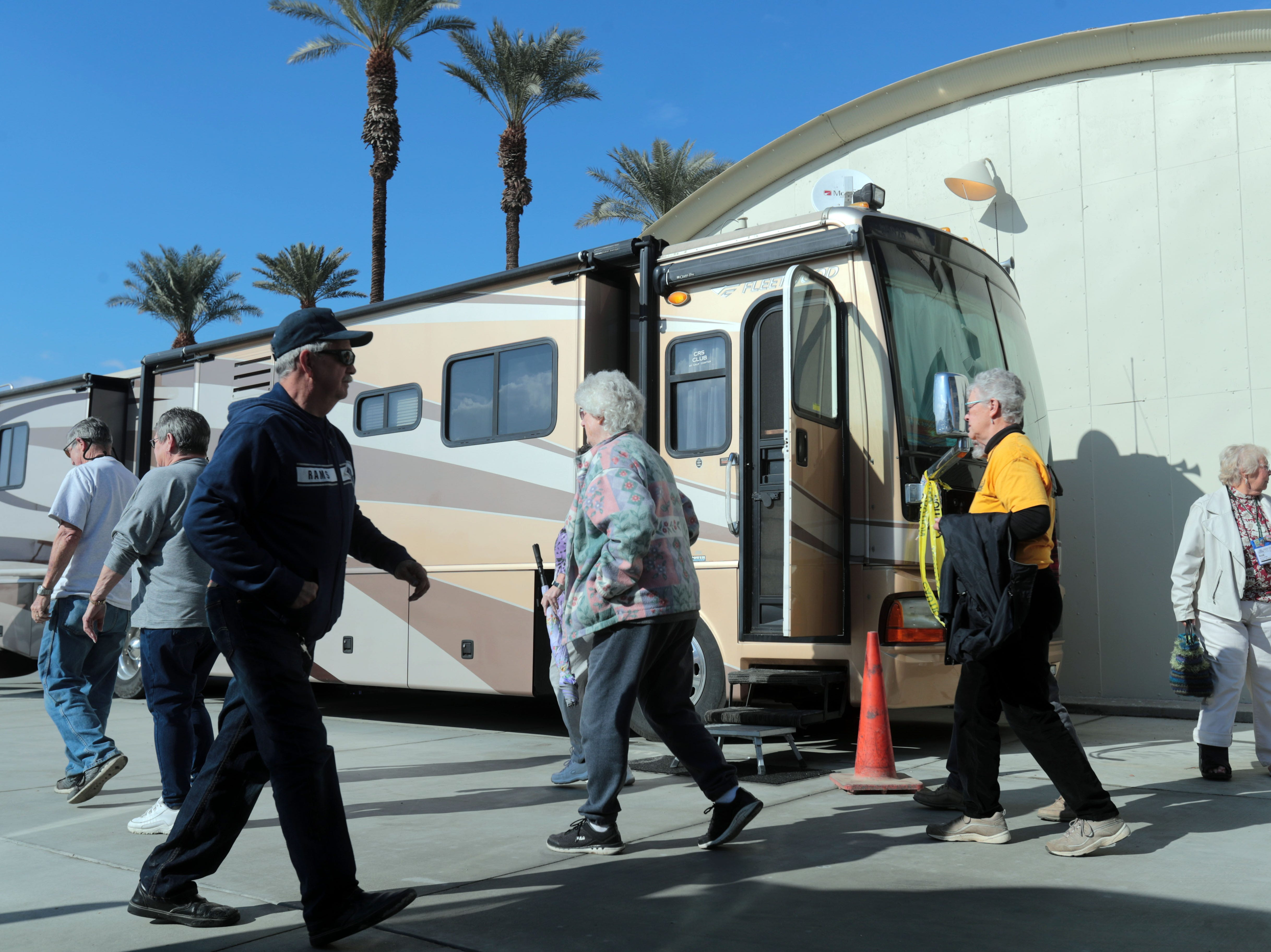 RV owners at the Riverside County Fairground in Indio on Saturday, January 12, 2019, during the FMCA annual motorhome convention.
