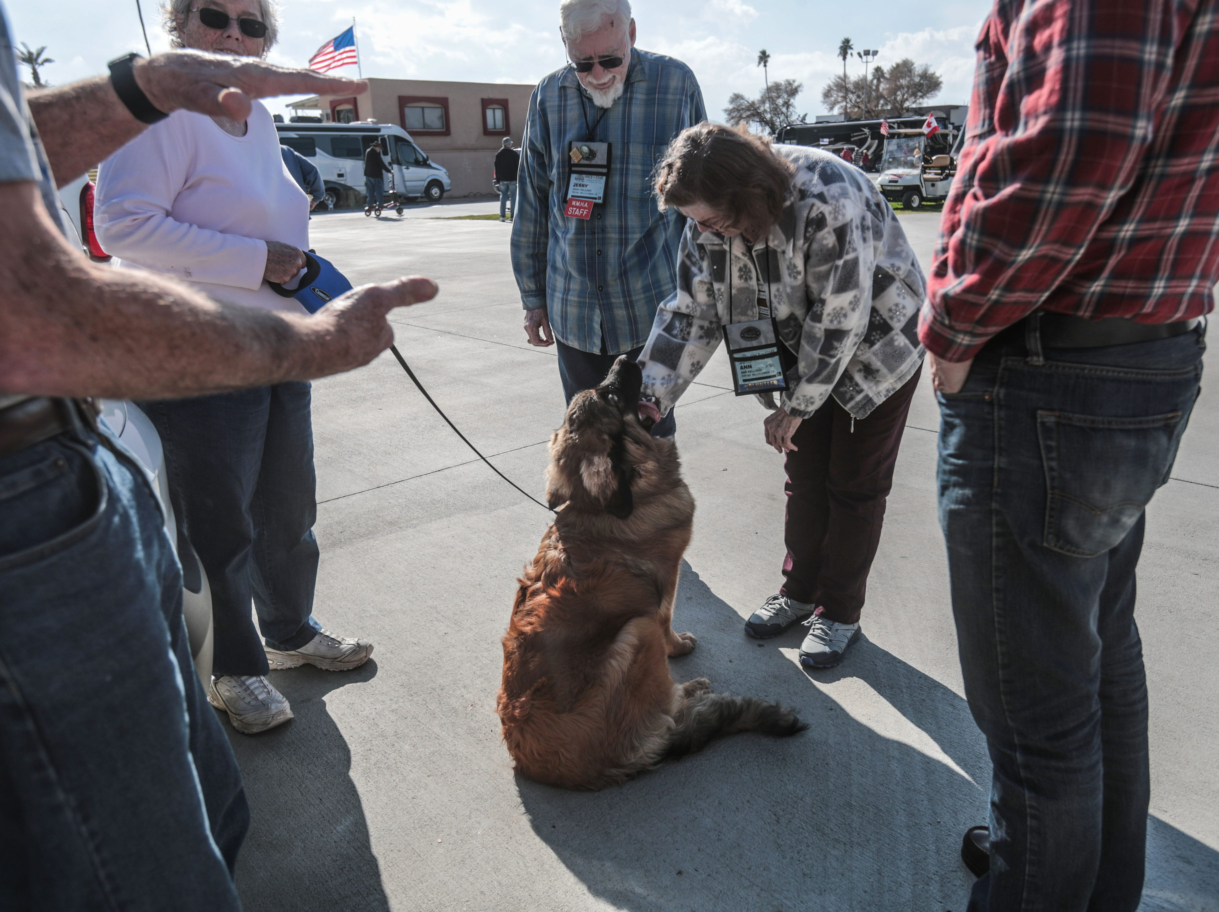 RV owners and their pet at the Riverside County Fairground in Indio on Saturday, January 12, 2019, during the FMCA annual motorhome convention.
