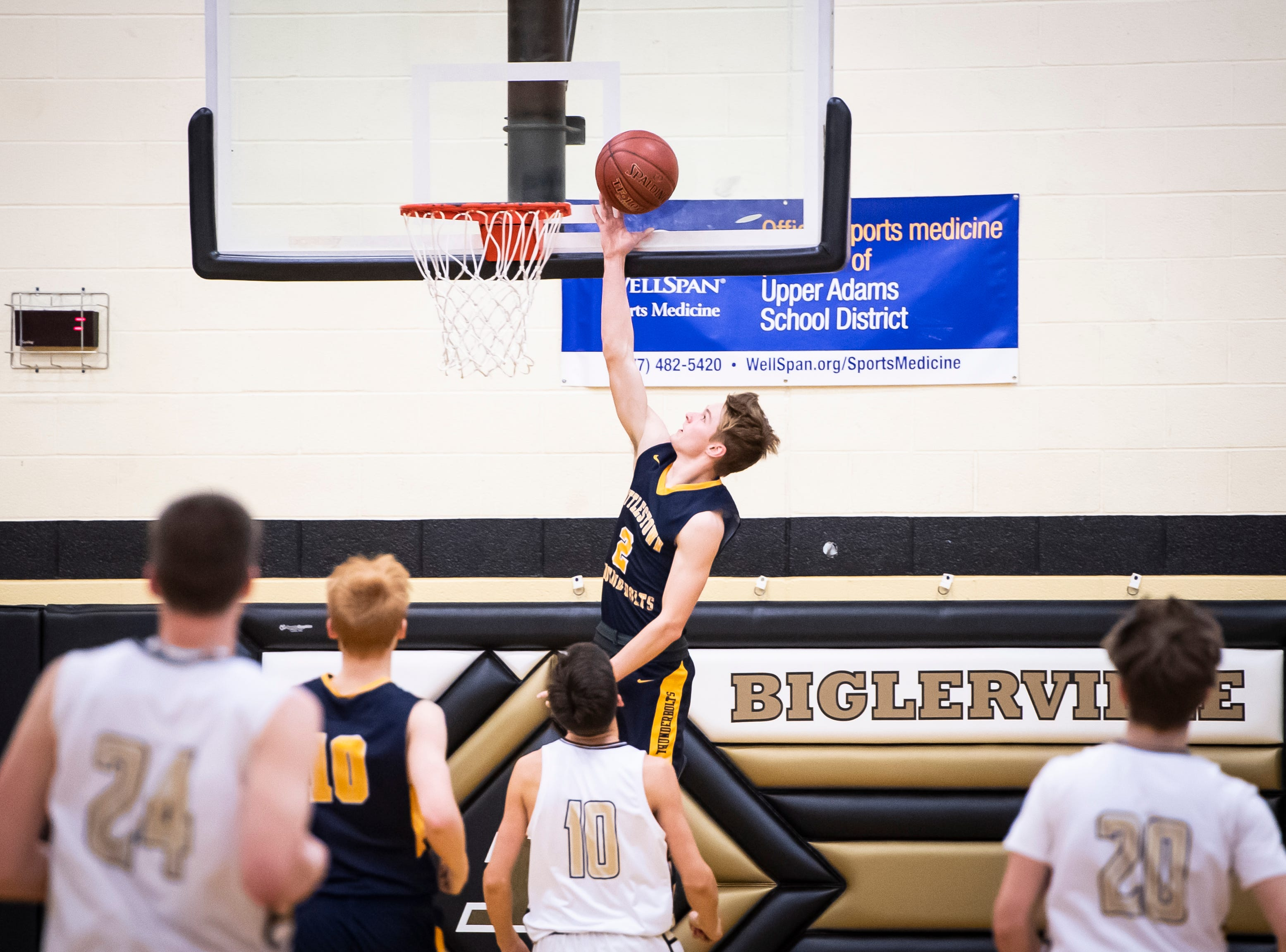 Littlestown's Jakob Lane scores on a layup after getting a steal against Biglerville on Friday, January 11, 2019. The Bolts won 65-38 to remain undefeated.