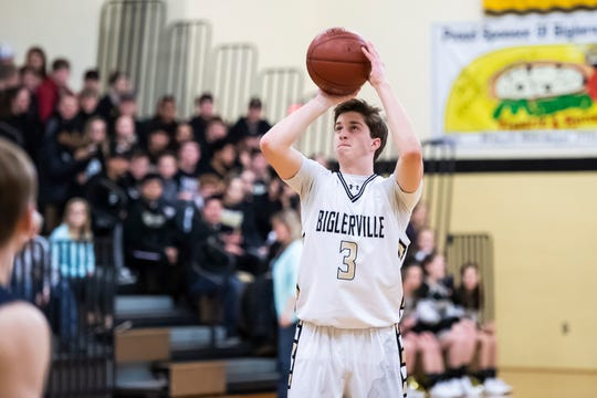 Biglerville's Gavin Parker shoots and scores a 3-pointer during play against Littlestown on Friday, January 11, 2019. The Canners fell 65-38.