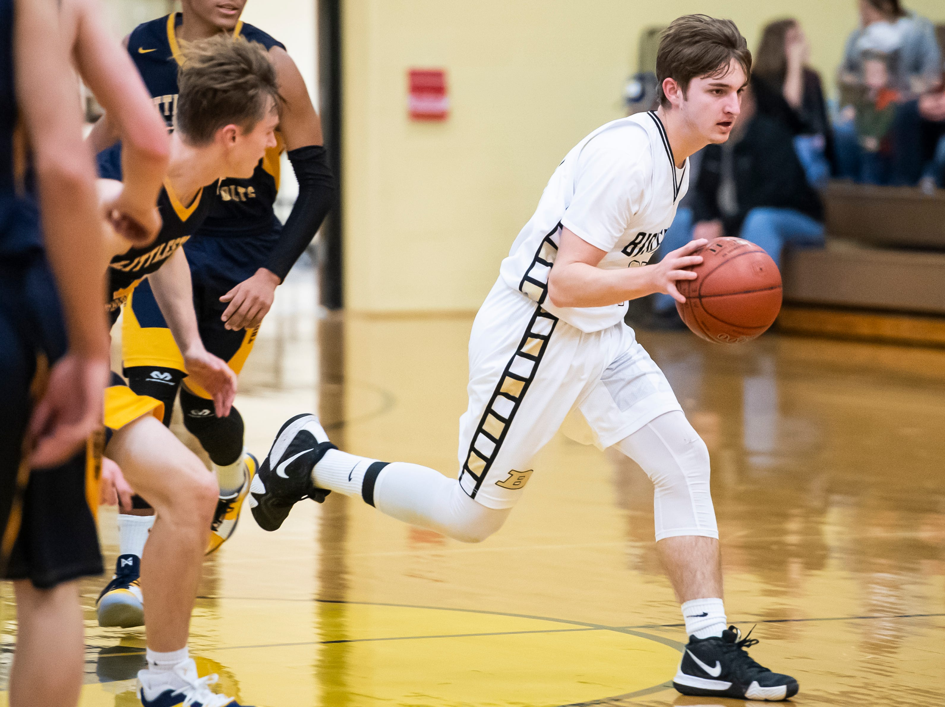 Biglerville's Noah Weaver dribbles down the court during play against Littlestown on Friday, January 11, 2019. The Canners fell 65-38.
