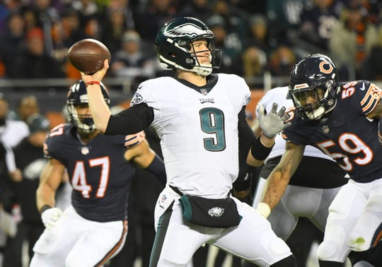 Jan 6, 2019: Philadelphia Eagles quarterback Nick Foles (9) throws a pass against the Chicago Bears in the first half of a NFC Wild Card playoff football game at Soldier Field.