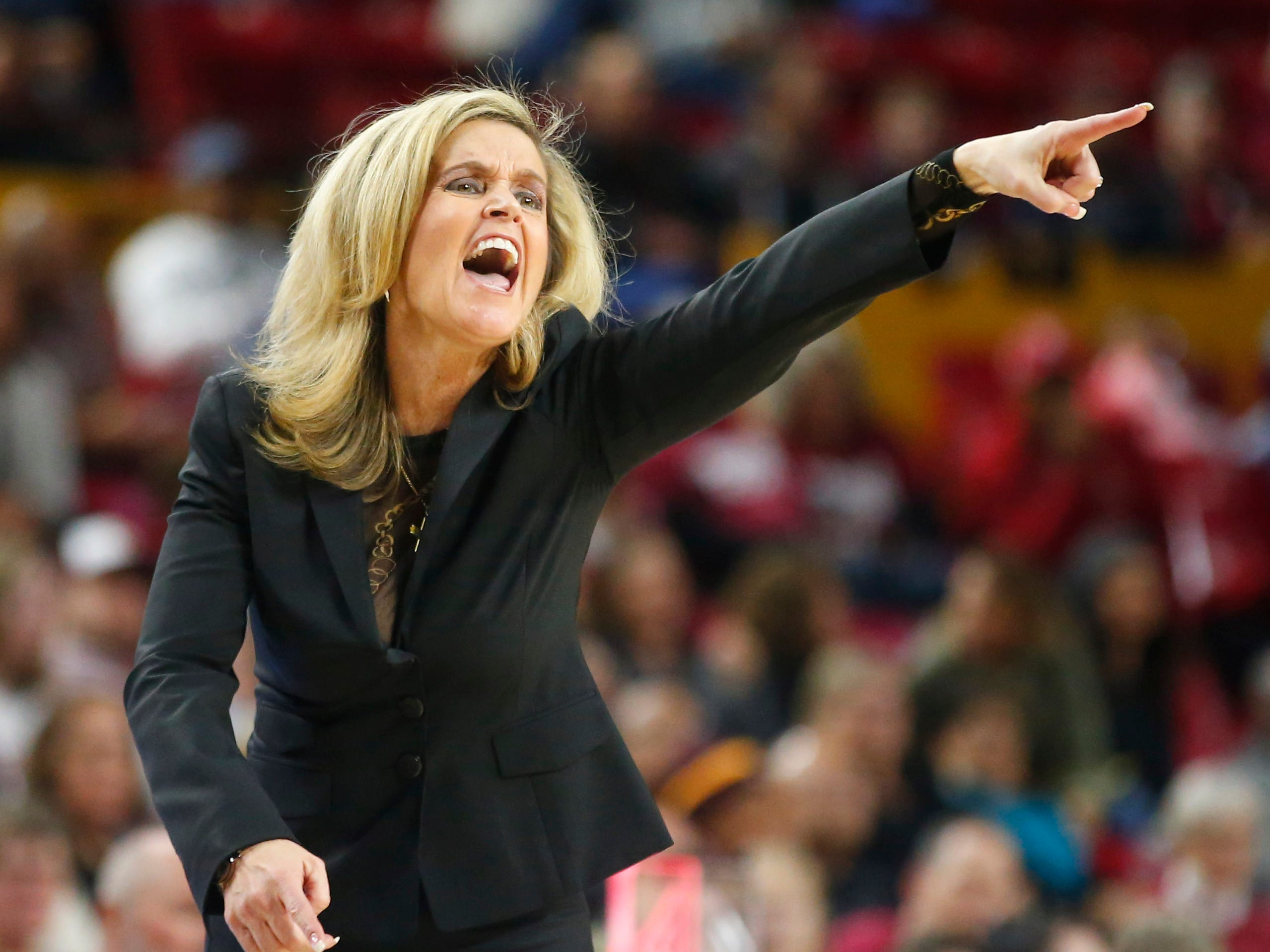Arizona State University head coach Charli Turner Thorne yells at her team during a women's basketball game against Stanford University at Well Fargo Arena in Tempe on January 11.