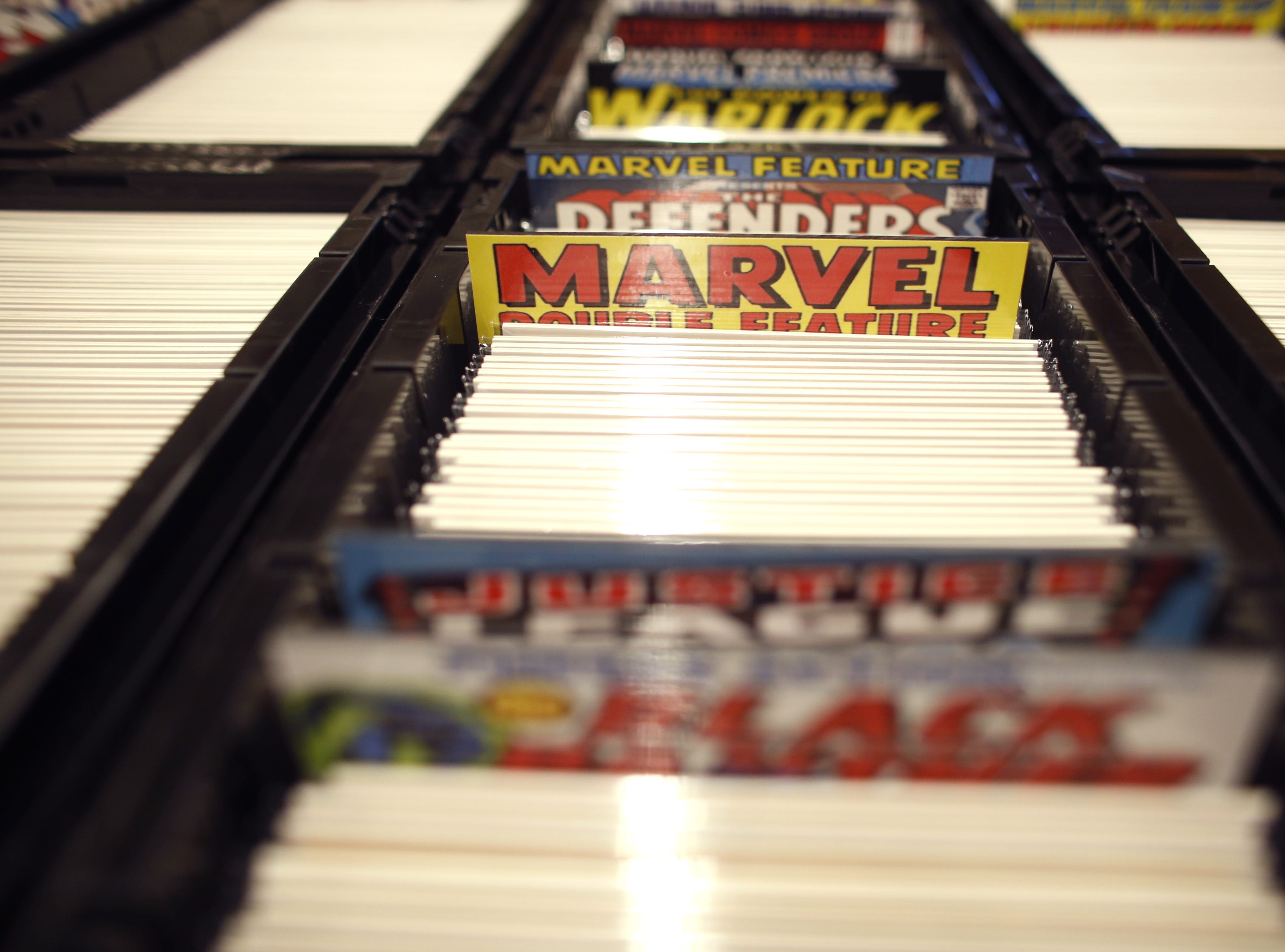 Comics sit for sale during the opening day of Ace Comic Con 2019 at Gila River Arena in Glendale, Ariz. on Jan. 11, 2019.