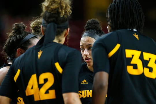 Arizona State University women's basketball team huddles during a timeout in game against the Stanford University at Well Fargo Arena in Tempe on January 11.