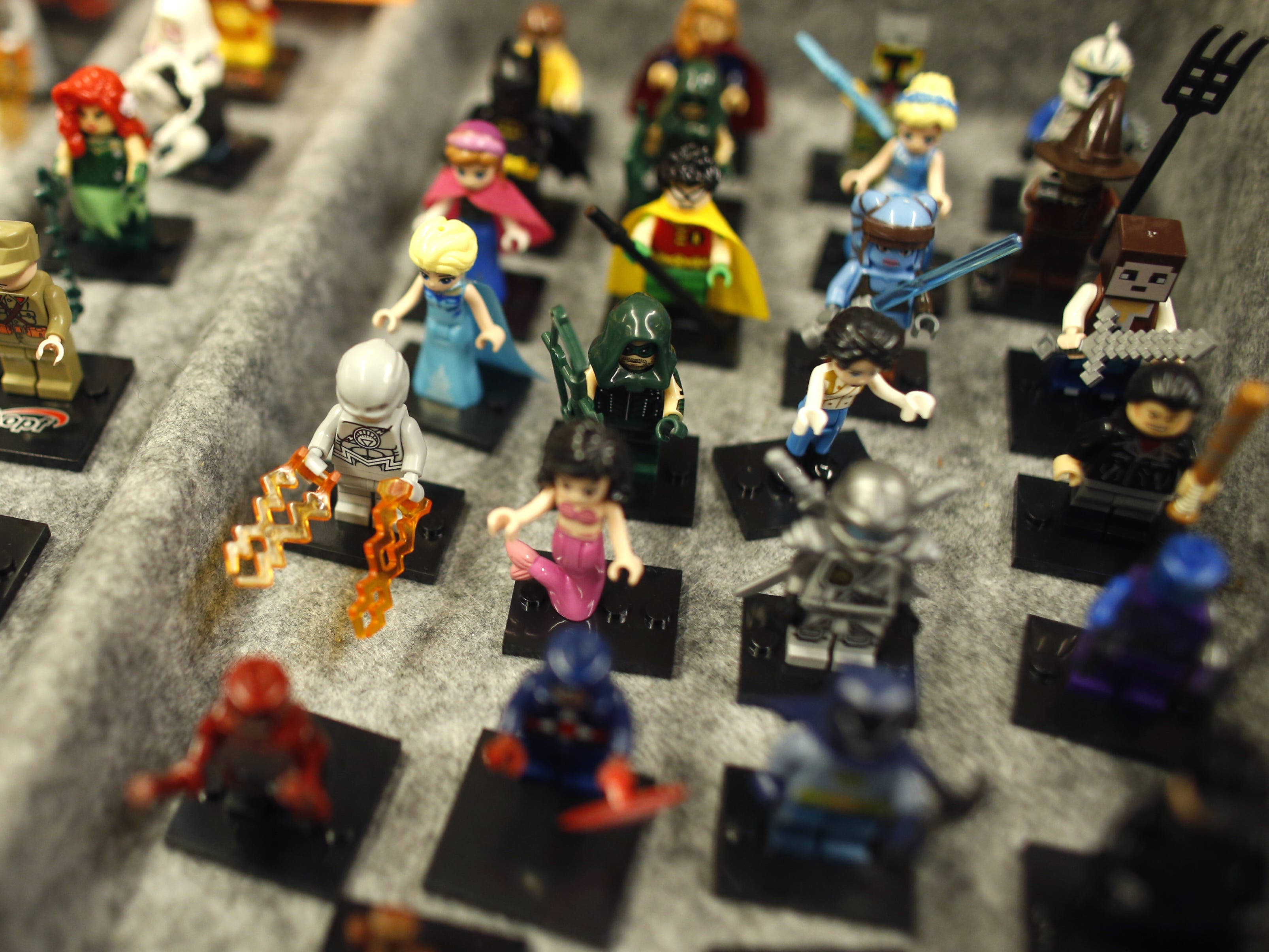 Lego figurines are for sale on opening day of Ace Comic Con 2019 at Gila River Arena in Glendale, Ariz. on Jan. 11, 2019.